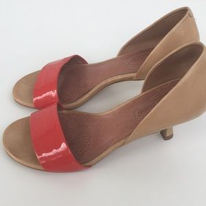 Leather Corso Como Open Toe Kitten Heels